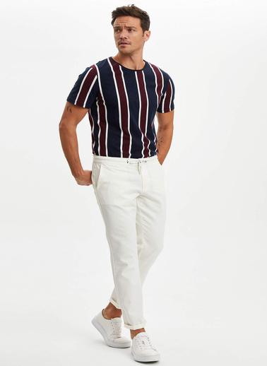 DeFacto Çizgili Regular Fit T-shirt Mavi